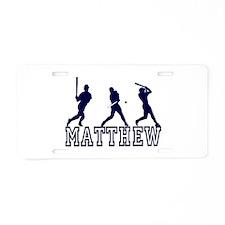 Baseball Matthew Personalized Aluminum License Pla