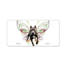 Pit Bull Butterfly Art Aluminum License Plate
