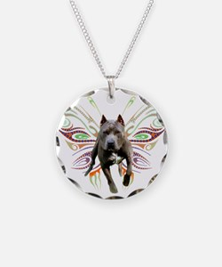 Pit Bull Butterfly Art Necklace Circle Charm
