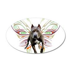 Pit Bull Butterfly Art 22x14 Oval Wall Peel