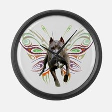 Pit Bull Butterfly Art Large Wall Clock