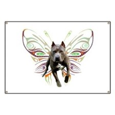 Pit Bull Butterfly Art Banner