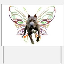 Pit Bull Butterfly Art Yard Sign