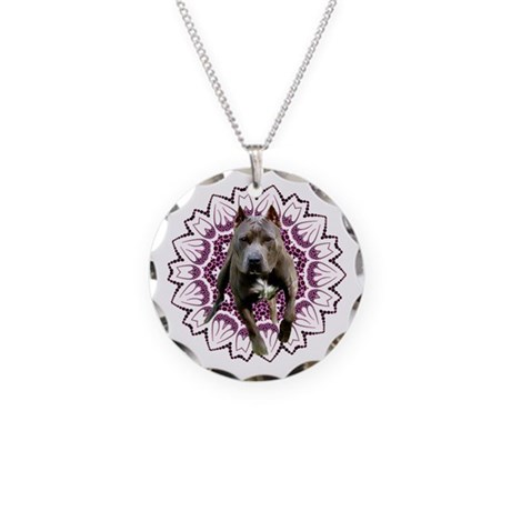 Pit Bull Kaleidoscope Graphic Necklace Circle Char