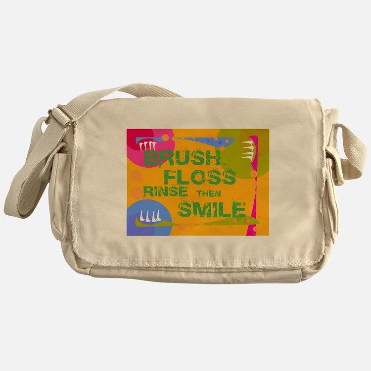 Brush Floss Rinse Smile Messenger Bag
