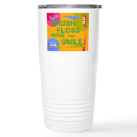 Brush Floss Rinse Smile Stainless Steel Travel Mug