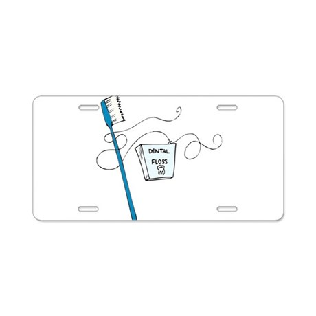 Brush And Floss Dentists Aluminum License Plate