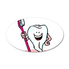 Happy Tooth & Brush 22x14 Oval Wall Peel