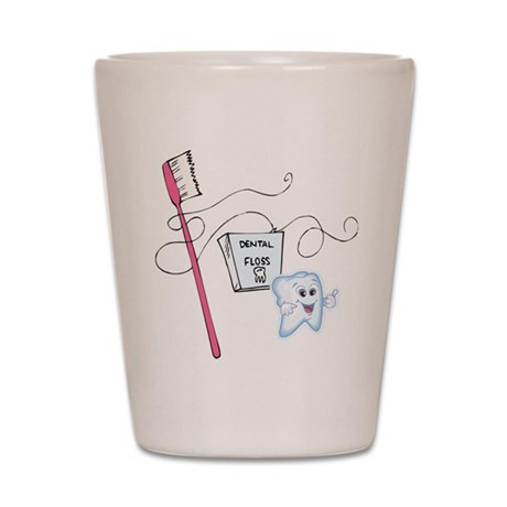 Healthy Tooth Brush and Floss Shot Glass