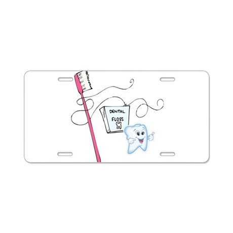 Healthy Tooth Brush and Floss Aluminum License Pla