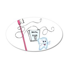 Healthy Tooth Brush and Floss 22x14 Oval Wall Peel