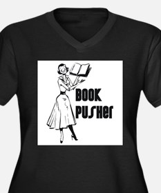 Book Pusher Women's Plus Size V-Neck Dark T-Shirt
