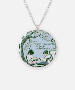 No Substitute For Books Necklace