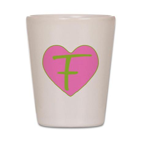 Pink Heart Monogram Initial F Shot Glass