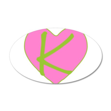 Pink Heart Monogram Initial K 38.5 x 24.5 Oval Wal