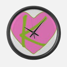 Pink Heart Monogram Initial K Large Wall Clock