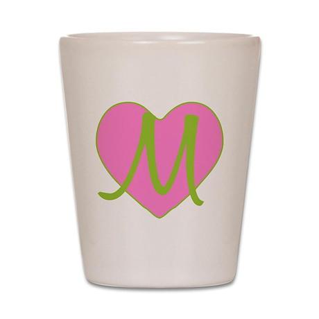 Pink Heart Monogram Initial M Shot Glass