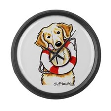 Golden Retriever Rescue Large Wall Clock