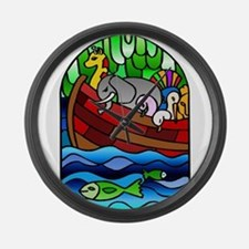 Noah's Ark Stained Glass Large Wall Clock