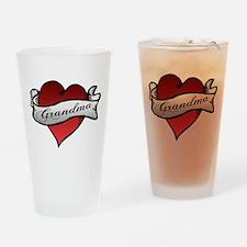 Grandma Heart Tattoo Baby Tat Drinking Glass