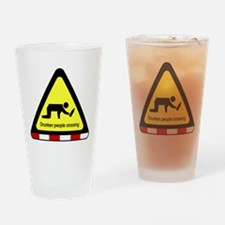 Drunken people crossing Sign Drinking Glass