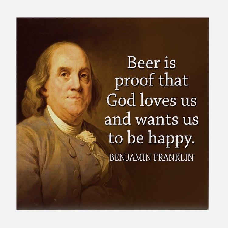 Ben Franklin BEER Quote Coaster