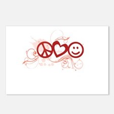 Peace Love Happy Face Splat Postcards (Package of
