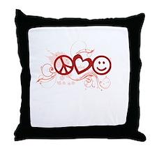 Peace Love Happy Face Splat Throw Pillow