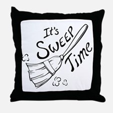 Black and White Sweep Time Throw Pillow