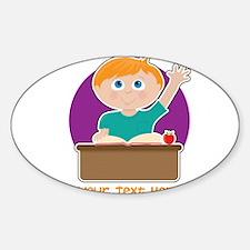 Little Boy at School Sticker (Oval)