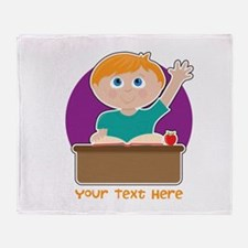 Little Boy at School Throw Blanket