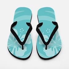 Hibiscus Aqua Flip Flops