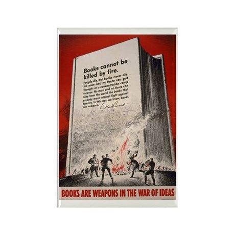 """""""Books cannot be killed by fi Rectangle Magnet (10"""