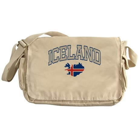 Iceland Map English Messenger Bag