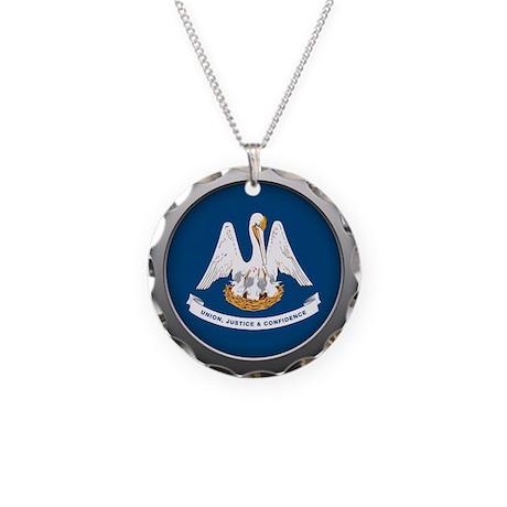 Round Flag - Louisiana Necklace Circle Charm