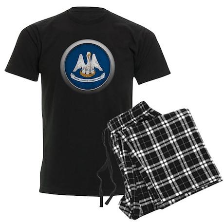 Round Flag - Louisiana Men's Dark Pajamas