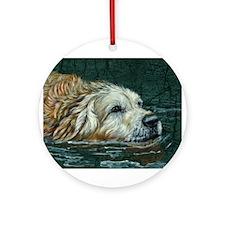 Golden Old Swimmer Ornament (Round)
