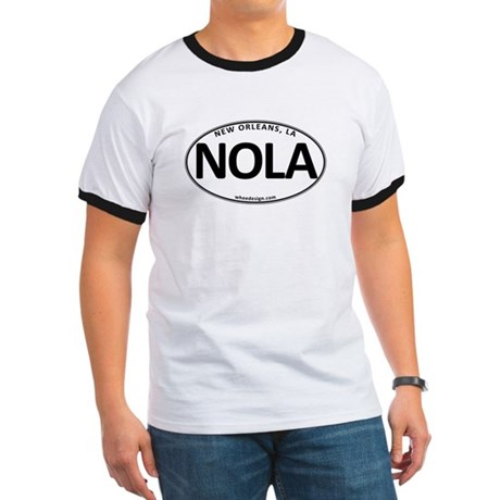 White Oval NOLA Ringer T-Shirt