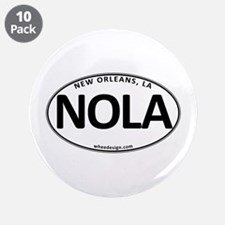 """White Oval NOLA 3.5"""" Button (10 pack)"""