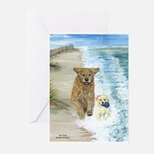 Golden Surf Dogs Greeting Cards (Pk of 10)