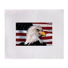 Bald Eagle Flag Water Color Throw Blanket