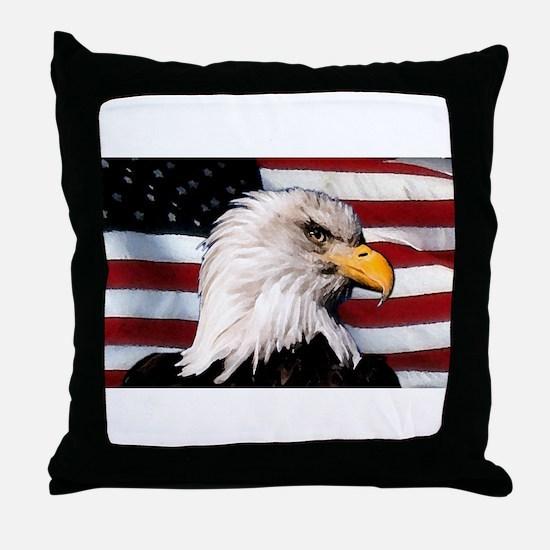 Bald Eagle Flag Water Color Throw Pillow