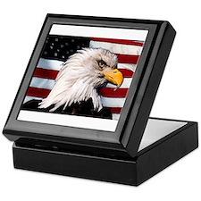 Bald Eagle Flag Water Color Keepsake Box