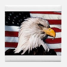 Bald Eagle Flag Water Color Tile Coaster