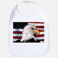 Bald Eagle Flag Water Color Bib