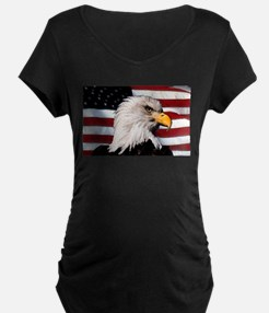 Bald Eagle Flag Water Color T-Shirt