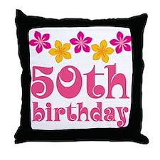 50th Birthday Hawaiian Throw Pillow