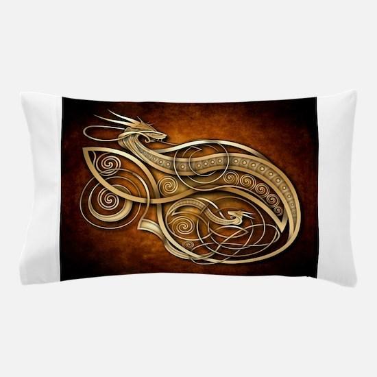Gold Norse Dragon Pillow Case