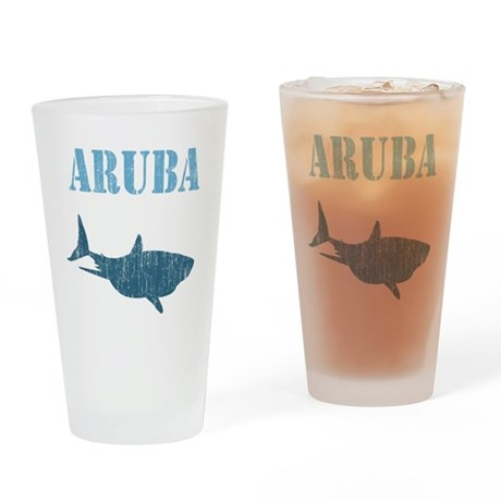 Retro Aruba Shark Drinking Glass
