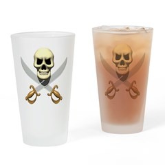 Pirate Skull and Swords Drinking Glass